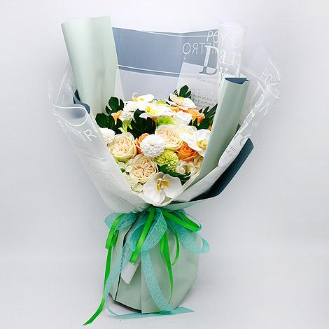 玫瑰香皂花束 清爽綠色