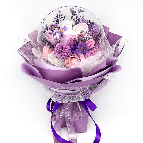 紫色泡泡球香皂花花束 求婚告白花束