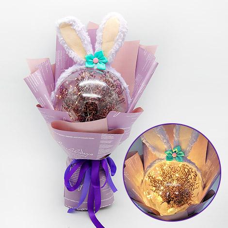 浪漫兔滿天星花束 閨密的生日禮物