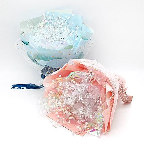 獨家設計 璀璨水晶花束 粉&藍色